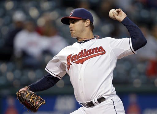 Cleveland Indians starting pitcher David Huff delivers against the Kansas City Royals in the first inning of a baseball game Friday, Sept. 28, 2012, in Cleveland. (AP Photo/Mark Duncan)