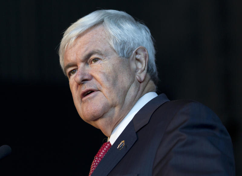 Republican presidential candidate, former House Speaker Newt Gingrich speaks at the U.S. Space and Rocket Center, Tuesday, March 6, 2012, in Huntsville, Ala. (AP Photo/Evan Vucci)