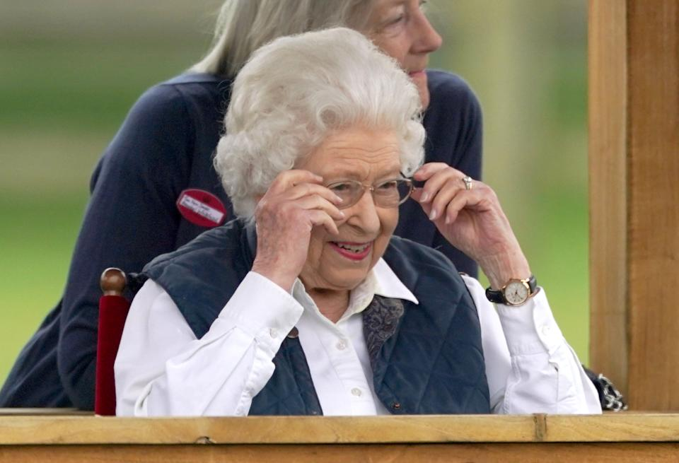 Queen Elizabeth II at the Royal Windsor Horse Show, Windsor. Picture date: Friday July 2, 2021. (Photo by Steve Parsons/PA Images via Getty Images)