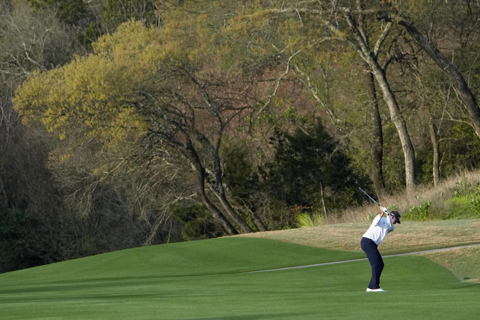 Ian Poulter, of England, hits off the third fairway during a first round match at the Dell Technologies Match Play Championship golf tournament Wednesday, March 24, 2021, in Austin, Texas. (AP Photo/David J. Phillip)