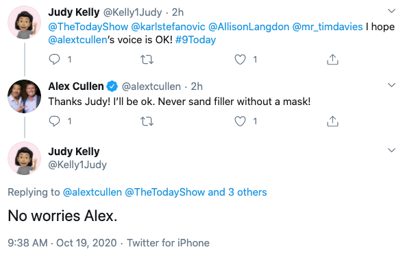 Alex revealed that he 'should've worn a mask' while doing some sanding over the weekend. Photo: Twitter.