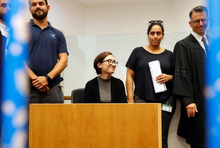 US student Lara Alqasem sits for a hearing at the Tel Aviv district Court on October 11, 2018