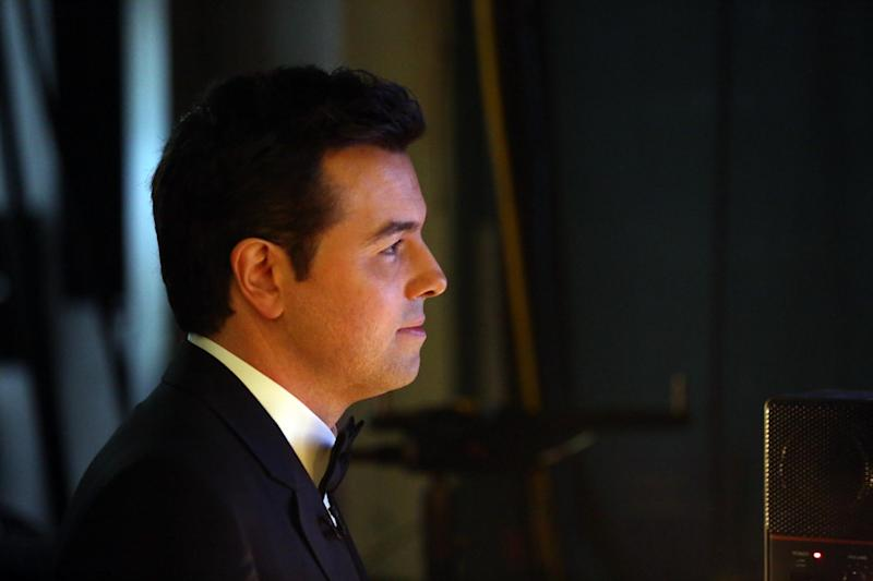 Host Seth MacFarlane backstage at the Oscars at the Dolby Theatre on Sunday Feb. 24, 2013, in Los Angeles. (Photo by Matt Sayles/Invision/AP)