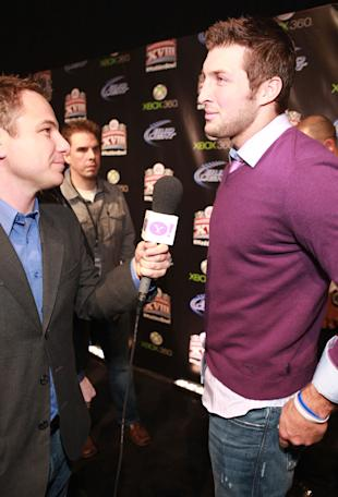 Tim Tebow arrives at the Madden Bowl