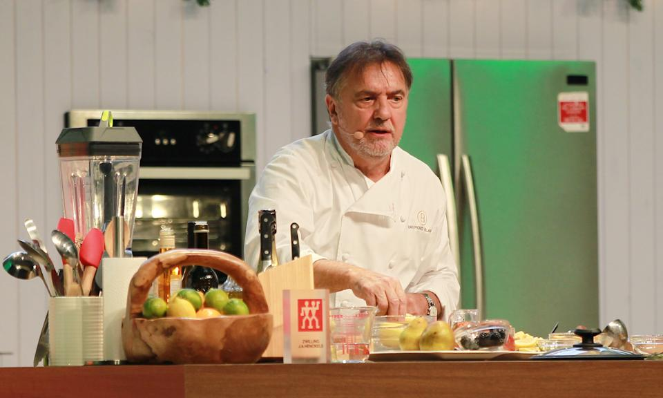 BIRMINGHAM, UNITED KINGDOM - NOVEMBER 30: Raymond Blanc at BBC Good Food Show Winter 2013 held at the NEC on November 30, 2017 in Birmingham, England.  PHOTOGRAPH BY Graham Stone / Barcroft Images (Photo credit should read Graham Stone / Barcroft Media via Getty Images)