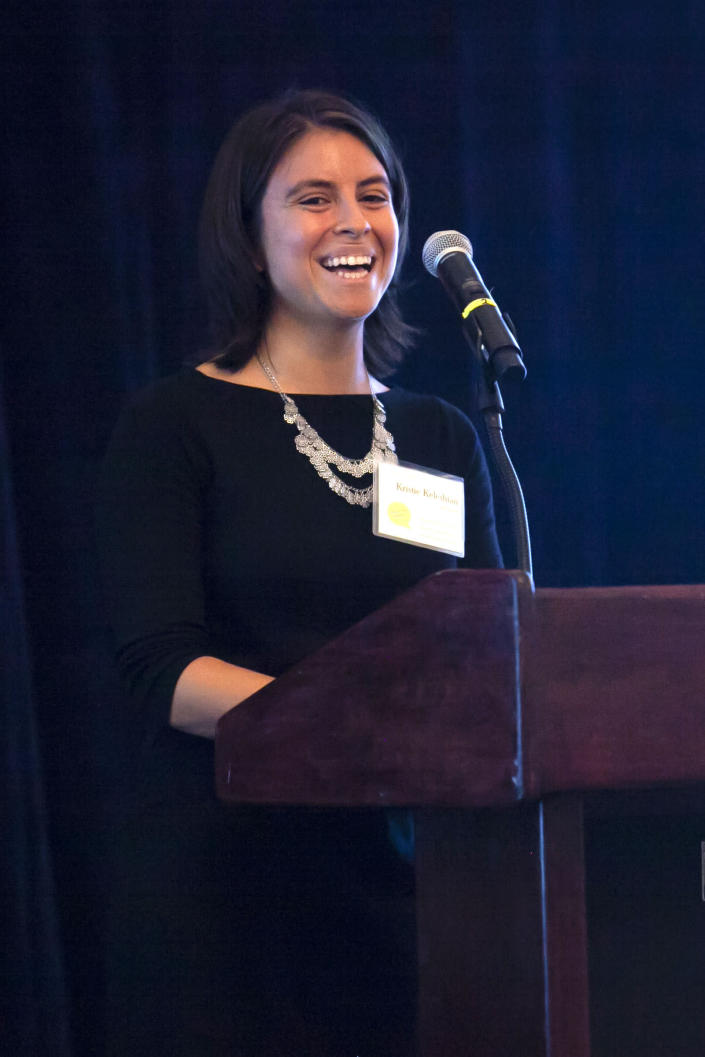Kristie Keleshian, featured alumna speaking at the 2019 Write on Sports Gala, held at Yale Club of New York City. (Phil Leo/Write on Sports via AP)