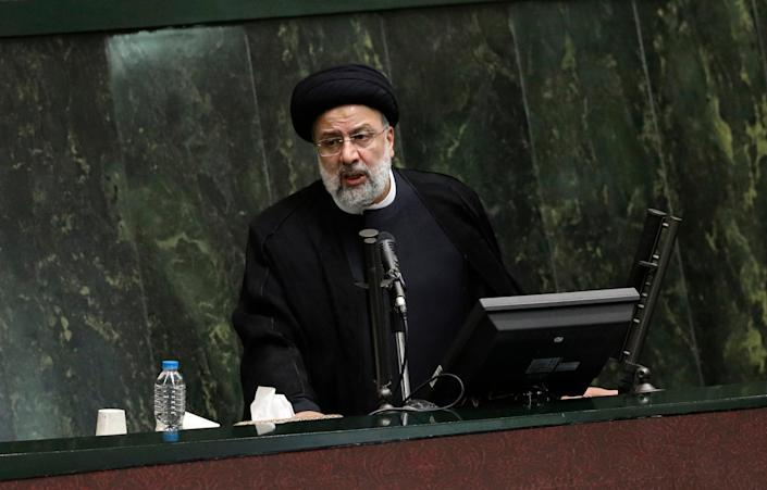 Iran's new president Ebrahim Raisi speaks in Tehran's parliament  (Copyright 2021 The Associated Press. All rights reserved)