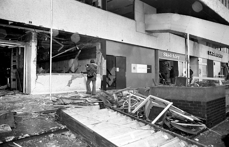 The aftermath of the fatal bomb attack on the Mulberry Bush pub (PA) (PA Wire)