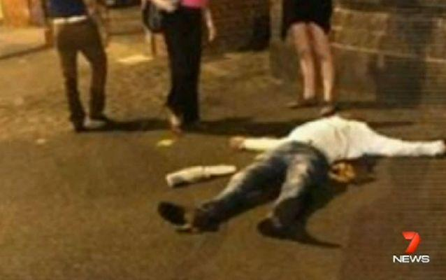 A witness captured this photo of Paul lying unconscious on the ground. Source: 7 News.