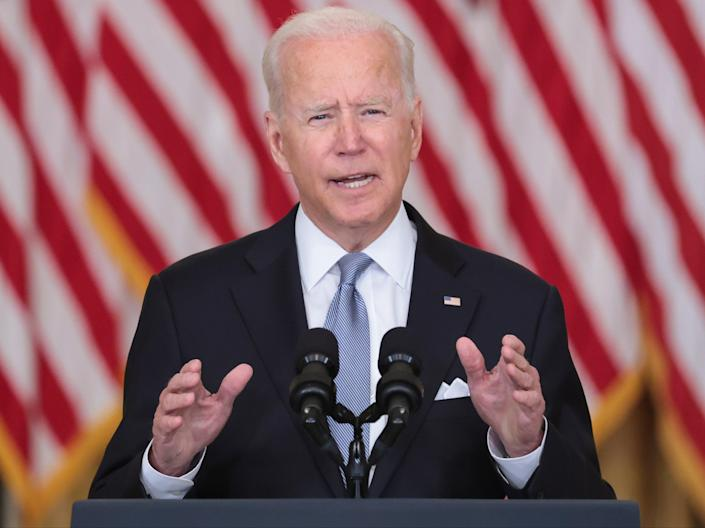 US president Joe Biden gives a national address about the situation in Afghanistan from the White House (Oliver Contreras/EPA/Pool)