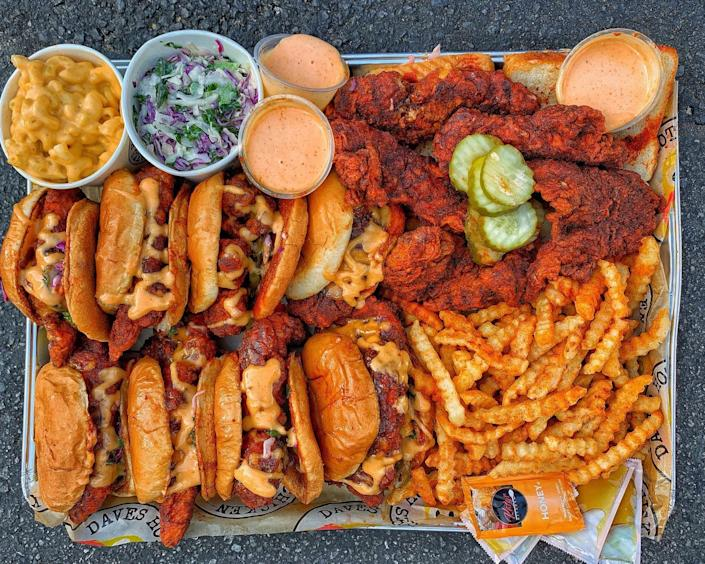 Fried chicken, sandwiches and french fries from Dave's Hot Chicken