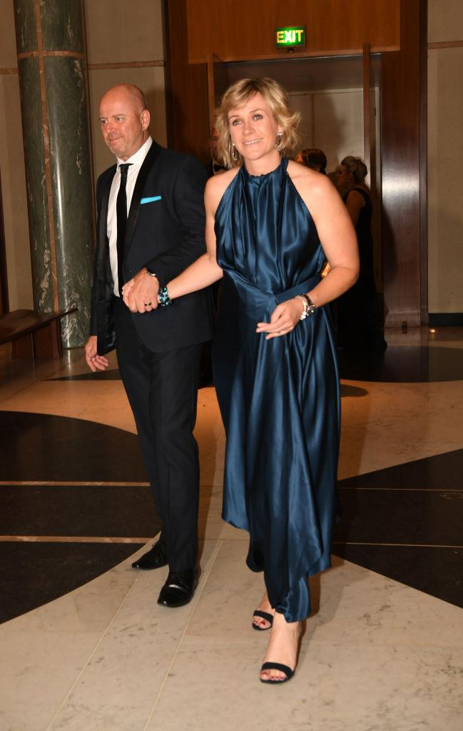 MP Zali Steggall and David Cameron attends the annual press gallery Midwinter Ball at Parliament House on September 18, 2019 in Canberra, Australia. (Photo by Tracey Nearmy/Getty Images)