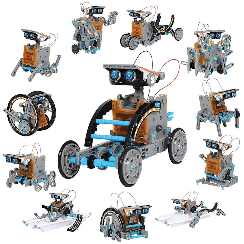 """<p>The <a href=""""https://www.popsugar.com/buy/DISCOVERY-KIDS-Mindblown-STEM-12--1-Solar-Robot-Creation-190-Piece-Kit-498019?p_name=DISCOVERY%20KIDS%20Mindblown%20STEM%2012-in-1%20Solar%20Robot%20Creation%20190-Piece%20Kit&retailer=amazon.com&pid=498019&price=29&evar1=moms%3Aus&evar9=44605228&evar98=https%3A%2F%2Fwww.popsugar.com%2Fphoto-gallery%2F44605228%2Fimage%2F46767864%2FDISCOVERY-KIDS-Mindblown-STEM-12-in-1-Solar-Robot-Creation-190-Piece-Kit&list1=shopping%2Cgift%20guide%2Ckids%2Ckid%20activities%2Cgifts%20for%20kids%2Clittle%20kids&prop13=api&pdata=1"""" rel=""""nofollow"""" data-shoppable-link=""""1"""" target=""""_blank"""" class=""""ga-track"""" data-ga-category=""""Related"""" data-ga-label=""""https://www.amazon.com/Discovery-Kids-Mindblown-Construction-Engineering/dp/B07BSWXHPH/ref=sr_1_4?keywords=Solar+Vehicle+Construction+Set&amp;qid=1570126270&amp;s=toys-and-games&amp;sr=1-4"""" data-ga-action=""""In-Line Links"""">DISCOVERY KIDS Mindblown STEM 12-in-1 Solar Robot Creation 190-Piece Kit </a> ($29) will keep them busy and encourage them to solve complex puzzles.</p>"""