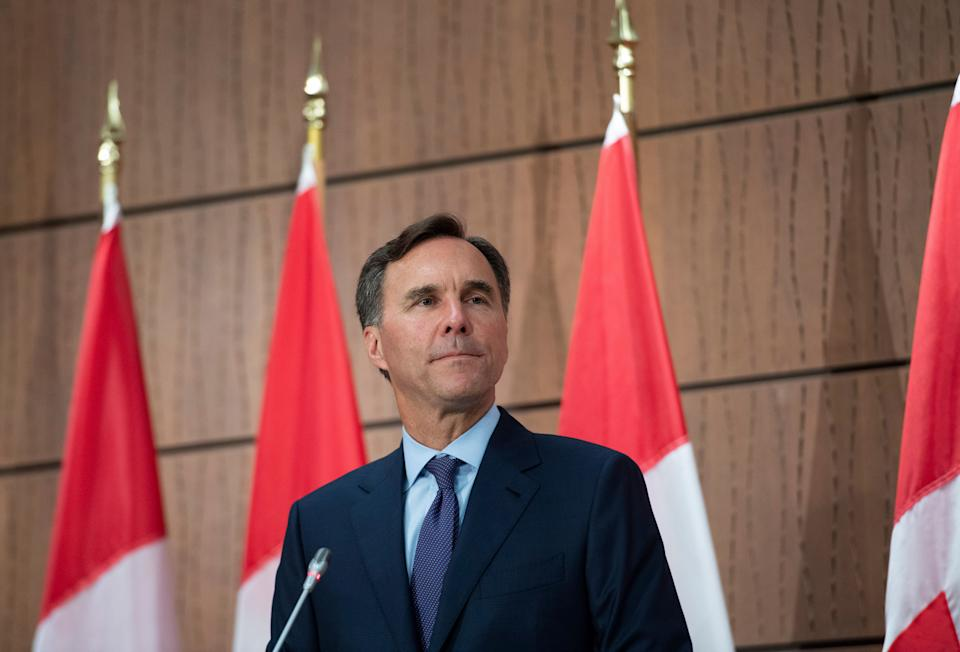 Bill Morneau announces his resignation during a news conference on Parliament Hill in Ottawa on Aug. 17, 2020.  (Photo: Justin Tang/CP)