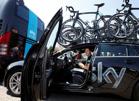 FILE PHOTO:  Team Sky rider sport manager Nicolas Portal is seen before the start of the 197 km tenth stage of the centenary Tour de France cycling race from Saint-Gildas-des-Bois to Saint-Malo July 9, 2013.      REUTERS/Eric Gaillard/File Photo