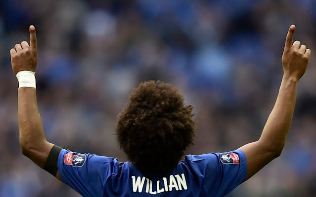 <span>Willian scored twice against the club he almost joined before signing for Chelsea in 2013</span> <span>Credit: REUTERS </span>