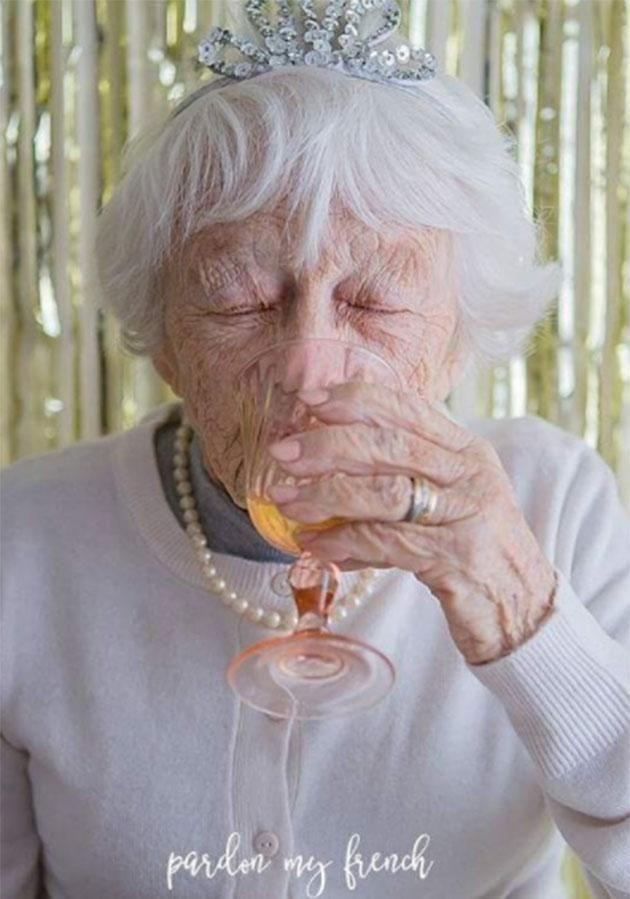 Nan toasted her 90th birthday with bubbles. Source: Pardon My French Photography/Instagram