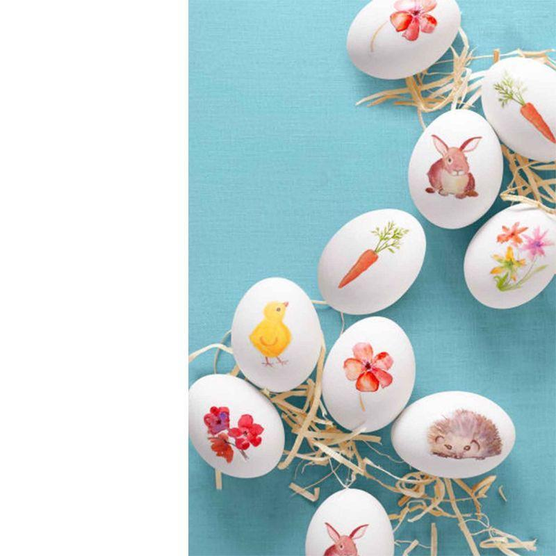 "<p>Transforming images into adhesive decals for your Easter eggs is easier than it sounds. Simply download our <a href=""http://wdy.h-cdn.co/assets/downloads/1456243733_-_wd-easter-watercolor-images.pdf"" rel=""nofollow noopener"" target=""_blank"" data-ylk=""slk:watercolor images template"" class=""link rapid-noclick-resp"">watercolor images template</a> and print onto <a href=""https://www.amazon.com/Grafix-Adhesive-2-Inch-11-Inch-6-Pack/dp/B000S15KDS/"" rel=""nofollow noopener"" target=""_blank"" data-ylk=""slk:Grafix Rub-Onz Transfer Film"" class=""link rapid-noclick-resp"">Grafix Rub-Onz Transfer Film</a> (you may need to select the photo paper setting on your printer). Rub with your fingers or the flat end of a wine cork to apply to eggs.</p>"