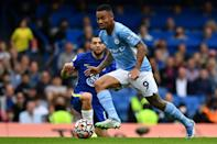 Manchester City forward Gabriel Jesus scored the winner in a 1-0 victory against Chelsea (AFP/Ben STANSALL)