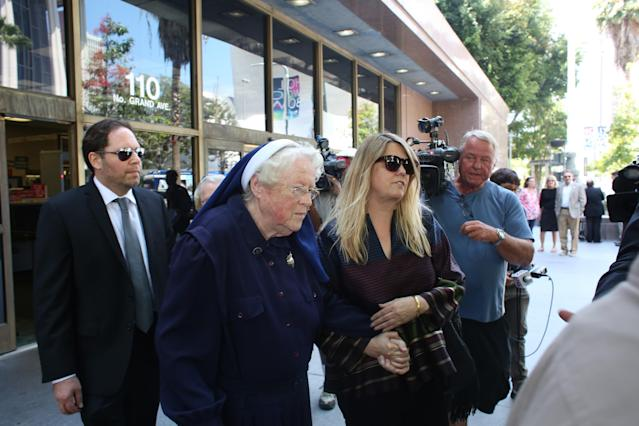Sister Rita Callanan and Dana Hollister leave court in 2015. (Photo: AP)