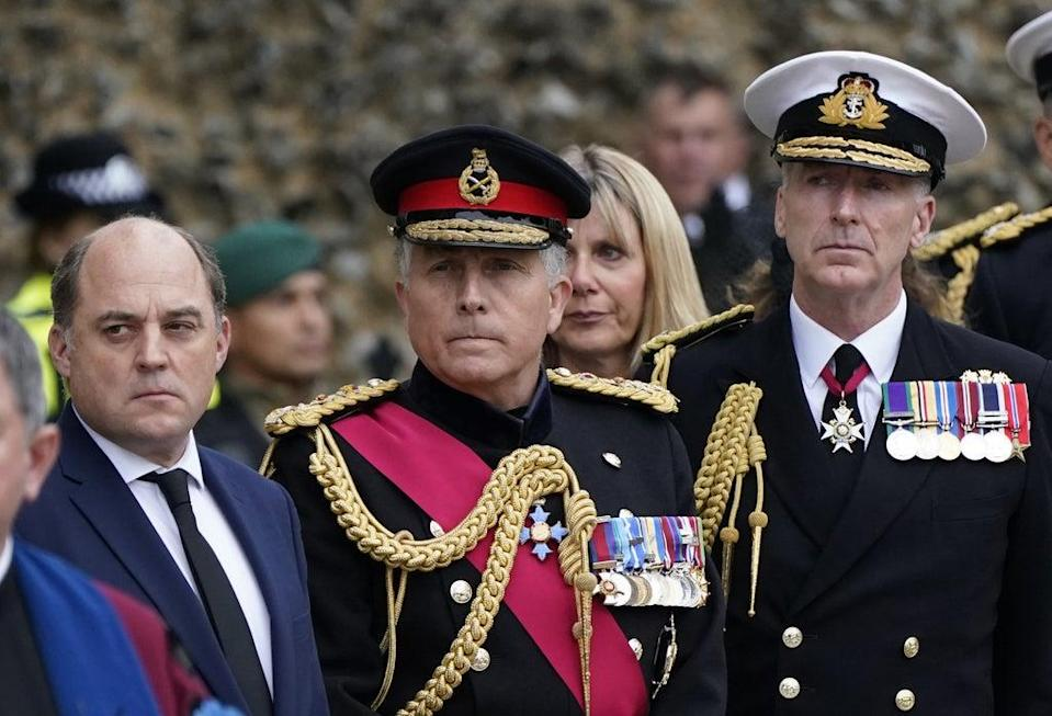 (L to R) Defence Secretary Ben Wallace, Chief of the Defence Staff General Sir Nick Carter and First Sea Lord and Chief of the Naval Staff Admiral Sir Tony Radakin attended the funeral (Andrew Matthews/PA) (PA Wire)