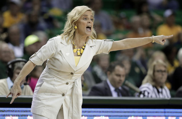 Baylor head coach Kim Mulkey instructs her team in the first half of a second-round game against Michigan at the NCAA women's college basketball tournament in Waco, Texas, Sunday, March 18, 2018. (AP Photo/Tony Gutierrez)