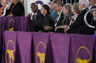 Former Major League Baseball player Barry Bonds sits in the viewing stands during judging of the terrier group at the Westminster Kennel Club dog show, Sunday, June 13, 2021, in Tarrytown, N.Y. (AP Photo/Kathy Willens)