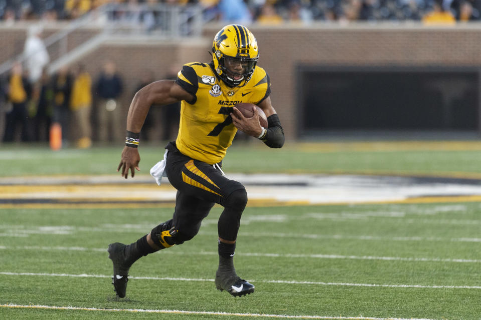 Missouri quarterback Kelly Bryant runs the ball during the first quarter of an NCAA college football game against Missouri Saturday, Oct. 12, 2019, in Columbia, Mo. (AP Photo/L.G. Patterson)