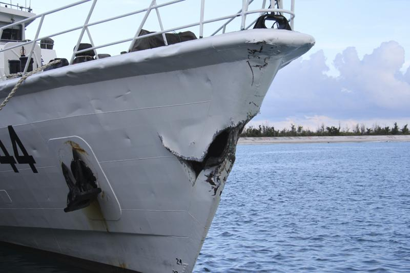 Damage on Chinese Coast Guard ship 44044 which Chinese authorities say was caused by a collision with Vietnam ships in South China Sea