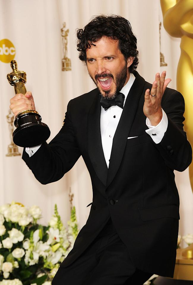 Songwriter Bret McKenzie accepts the Best Original Song Award for 'Man or Muppet' from 'The Muppets,' poses in the press room at the 84th Annual Academy Awards held at the Hollywood & Highland Center on February 26, 2012 in Hollywood, California.