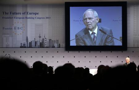 Germany's Finance Minister Schaeuble delivers his speech at European Banking Congress in Frankfurt