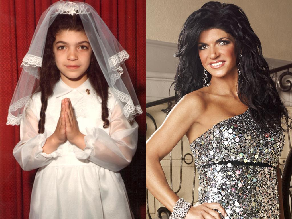 """<b>Teresa Giudice (New Jersey) </b><br><br>Who would have imagined this little angelic girl would grow up to become one of the most troublemaking housewives of all time? Teresa had those thick eyebrows and low hairline when she was just a little guidette in Patterson, New Jersey… but we doubt she had the strength to flip tables back then.<br><br><a target=""""_blank"""" href=""""http://www.bravotv.com/the-real-housewives-of-new-jersey/photos/before-they-were-housewives-teresa"""">More Photos of Teresa</a>"""