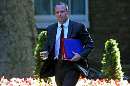 Britain's Secretary of State for Exiting the European Union Dominic Raab arrives at Downing Street in London
