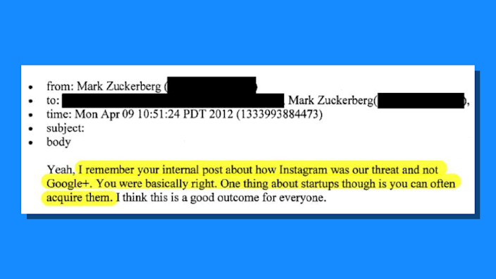Mark Zuckerberg email in which he talks about buying start-ups