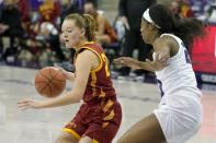 Iowa State guard Aubrey Joens (20) works to the basket against TCU forward Michelle Berry, right, in the first half of an NCAA college basketball game in Fort Worth, Texas, Wednesday, Dec. 2, 2020. (AP Photo/Tony Gutierrez)