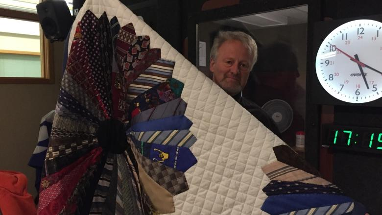 Formal wear gets cozy as retired ties transformed into quilt