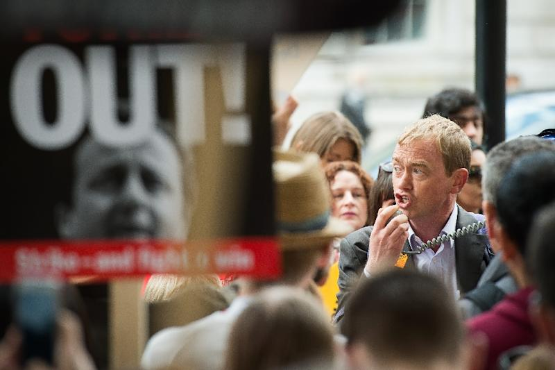 Liberal Democrat MP Tim Farron, pictured during a protest on May 30, 2015, is elected the new leader of his party