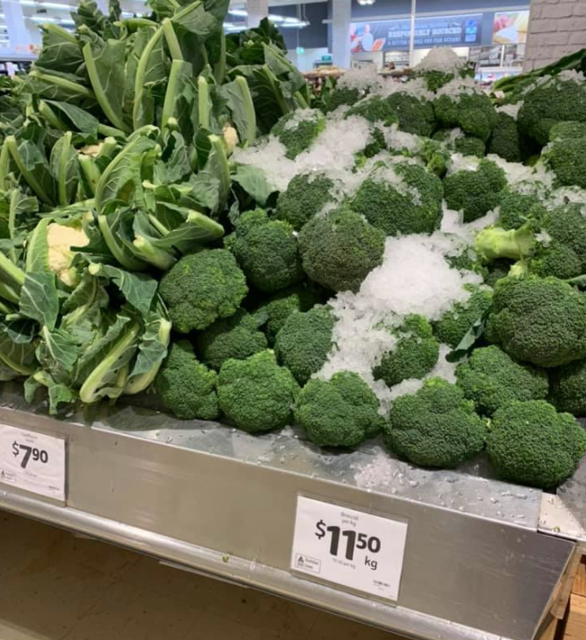 One user posted a picture of $11.50 broccoli at Coles. (Source: Facebook)