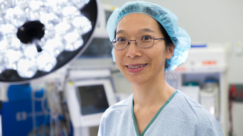 Dr Rhea Liang in an operating theatre