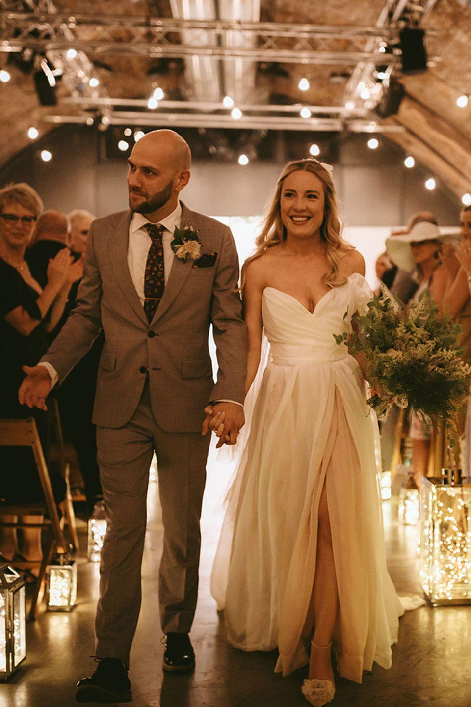 <p><strong>Dress</strong>: Custom-made by the mother of the bride, Averil Leimon</p><p><strong>Shoes</strong>: Topshop<br></p><p><strong>Jewellery</strong>: Astrid + Miyu</p>