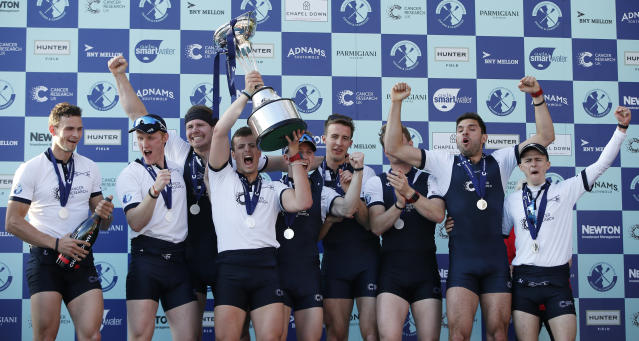 Britain Rowing - 2017 Oxford v Cambridge University Boat Race - River Thames, London - 2/4/17 The Oxford crew celebrate with the trophy after winning the men's Boat Race Action Images via Reuters / Paul Childs Livepic