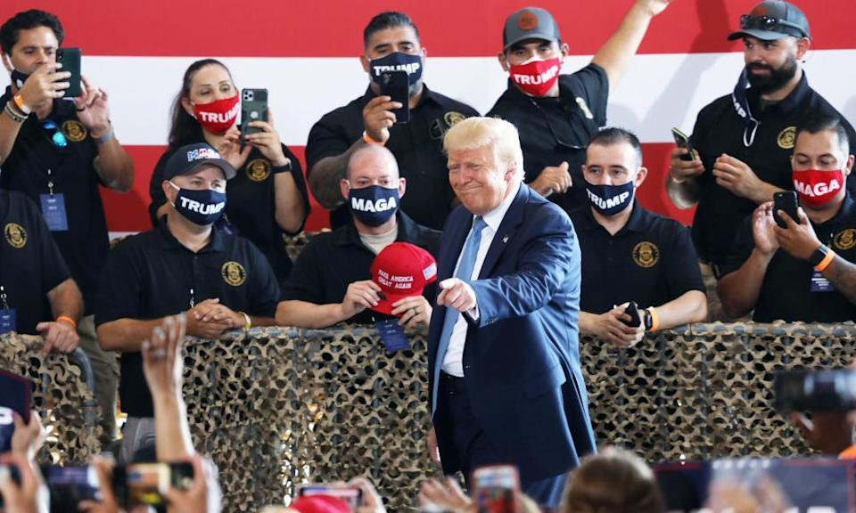 Donald Trump attends a campaign rally at the Defense Contractor Complex on 18 August 2020 in Yuma, Arizona.