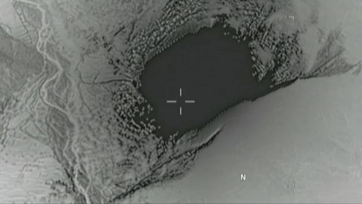 An image taken from a video released by the Department of Defense shows the moment a MOAB struck the Achin district Nangarhar province in Afghanistan, where U.S. officials said a network of tunnels and caves was being used by militants linked to the Islamic State group. (U.S. Department of Defense/handout via Reuters)