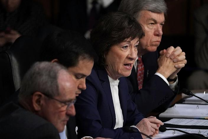 Senator Susan Collins is one of two pro-choice Republicans being closely watched for signs she may oppose President Donald Trump's latest nomination for the US Supreme Court, the conservative judge Brett Kavanaugh during a confirmation hearing for CIA Director nominee Gina Haspel before the Senate (Select) Committee on Intelligence May 9, 2018 in Washington, DC. If confirmed, Haspel will succeed Mike Pompeo to be the next CIA director. Alex Wong/Getty Images/AFPWASHINGTON, DC - MAY 09: U.S. Sen. Susan Collins (R-ME) (2nd R) speaks during a confirmation hearing for CIA Director nominee Gina Haspel before the Senate (Select) Committee on Intelligence May 9, 2018 in Washington, DC. If confirmed, Haspel will succeed Mike Pompeo to be the next CIA director. Alex Wong/Getty Images/AFP (AFP Photo/ALEX WONG)