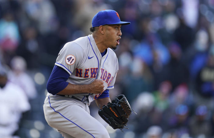 New York Mets relief pitcher Edwin Diaz reacts after striking out Colorado Rockies' Dom Nunez for the final out of a baseball game Saturday, April 17, 2021, in Denver. The Mets won 4-3 in the first game of a doubleheader. (AP Photo/David Zalubowski)