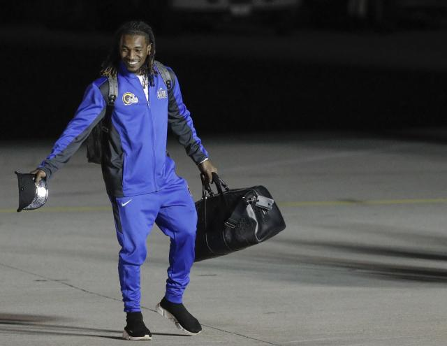 Los Angeles Rams' Nickell Robey-Coleman, here coming off the team plane after landing in Atlanta for Super Bowl LIII, had plenty to say about the New England Patriots and Tom Brady in a feature story. (AP)