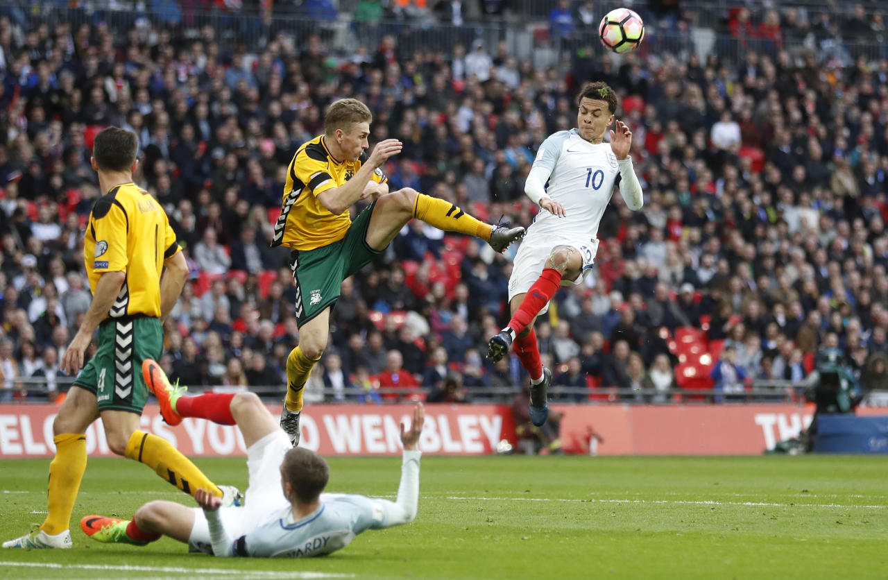 Britain Football Soccer - England v Lithuania - 2018 World Cup Qualifying European Zone - Group F - Wembley Stadium, London, England - 26/3/17 England's Dele Alli in action  Action Images via Reuters / Carl Recine Livepic EDITORIAL USE ONLY.