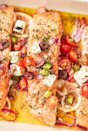 "<p>We love this meal because it comes with lots of veggies! If you want to be extra-healthy, serve the salmon over a bed of rocket or spinach.</p><p>Get the <a href=""http://www.delish.com/uk/cooking/recipes/a29205150/greek-salmon-recipe/"" rel=""nofollow noopener"" target=""_blank"" data-ylk=""slk:Greek Salmon"" class=""link rapid-noclick-resp"">Greek Salmon</a> recipe</p>"