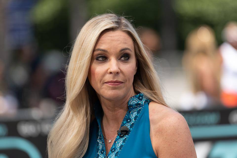 "UNIVERSAL CITY, CALIFORNIA - JUNE 12: Kate Gosselin visits ""Extra"" at Universal Studios Hollywood on June 12, 2019 in Universal City, California. (Photo by Noel Vasquez/Getty Images)"