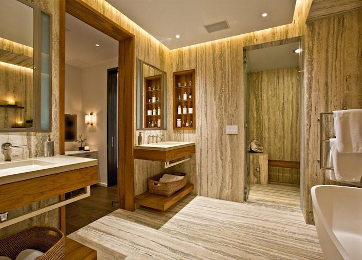 Lavish modern bathroom inside the Jeffrey Beers-renovated apartment at 15 Central Park West.